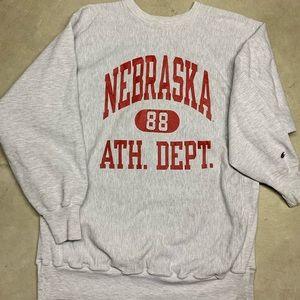 Vintage Nebraska Champion Reverse Weave Crew Neck